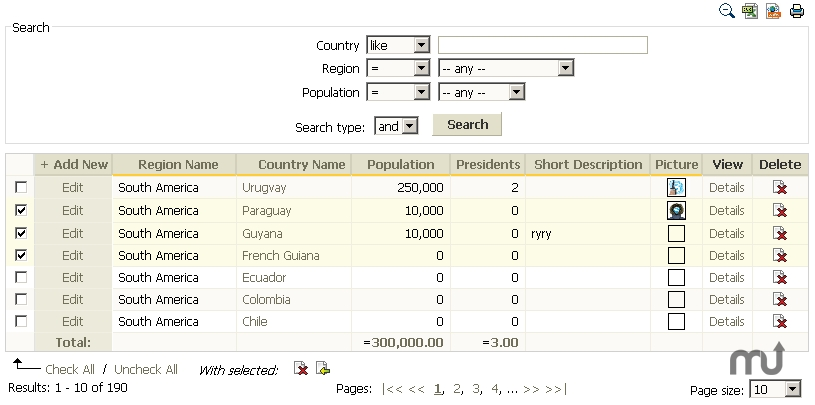 Screenshot 1 for PHP DataGrid