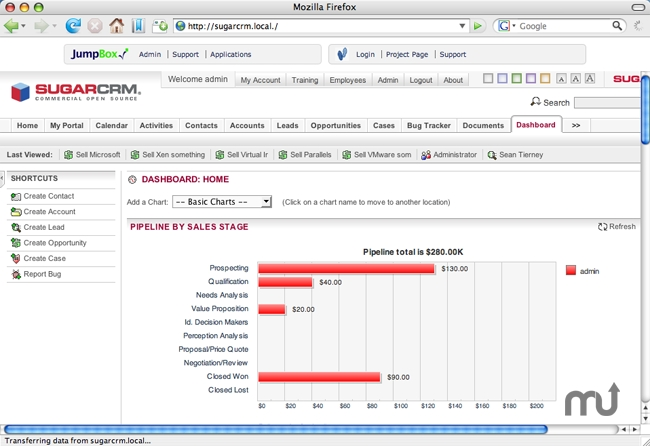 Screenshot 1 for JumpBox for the SugarCRM 4.5.x CRM System