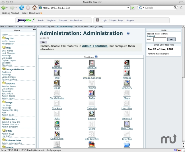 Screenshot 1 for JumpBox for the TikiWiki CMS