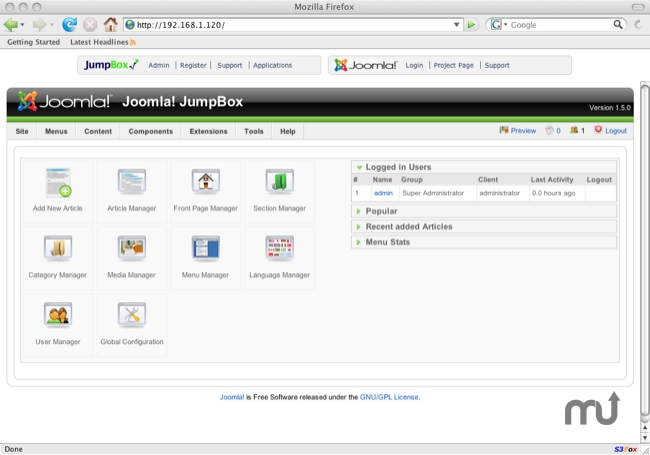 Screenshot 1 for JumpBox for the Joomla! CMS