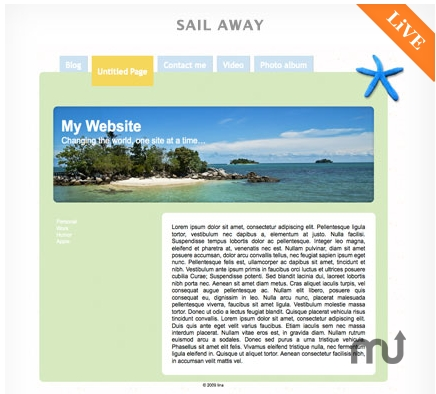 Screenshot 1 for RapidWeaver Themes: Sail Away