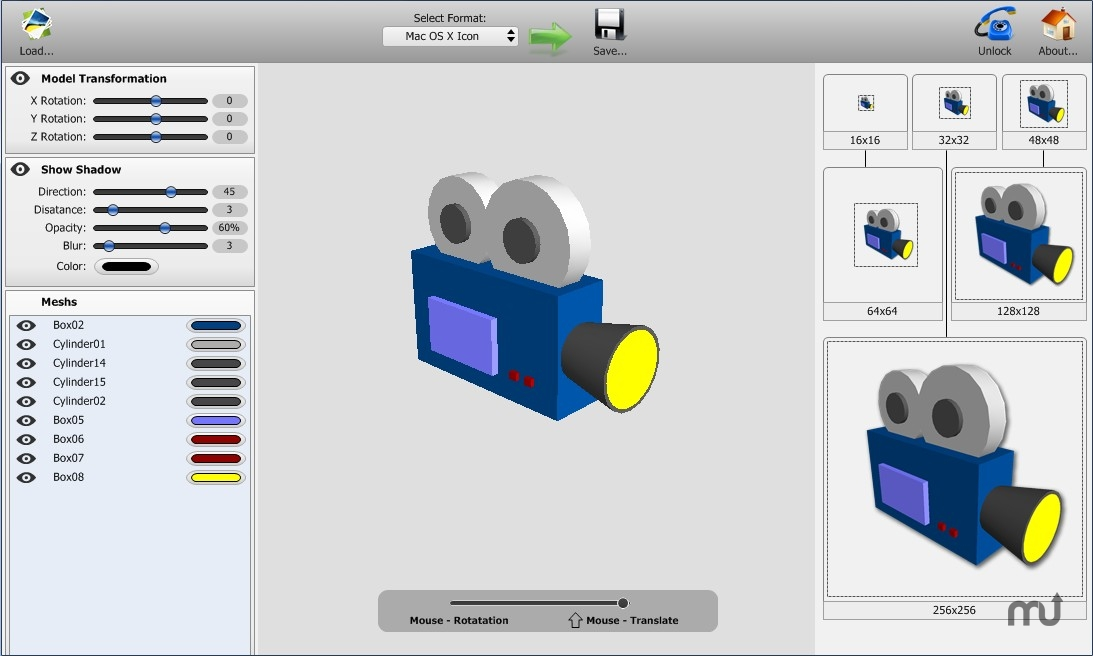 Screenshot 1 for model2icon
