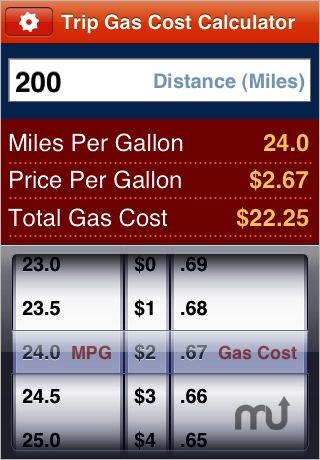 Screenshot 1 for Gas Cost Calculator