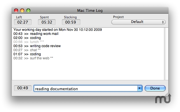 Screenshot 1 for MacTimeLog
