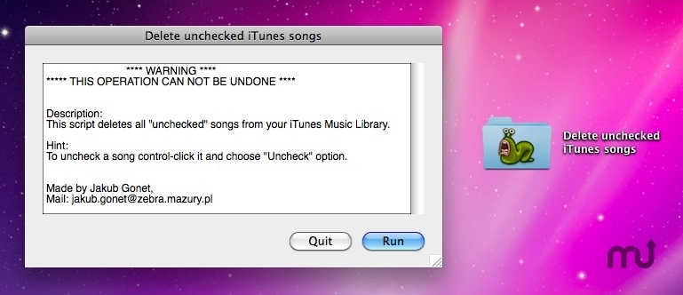 Screenshot 1 for Delete Unchecked iTunes Songs