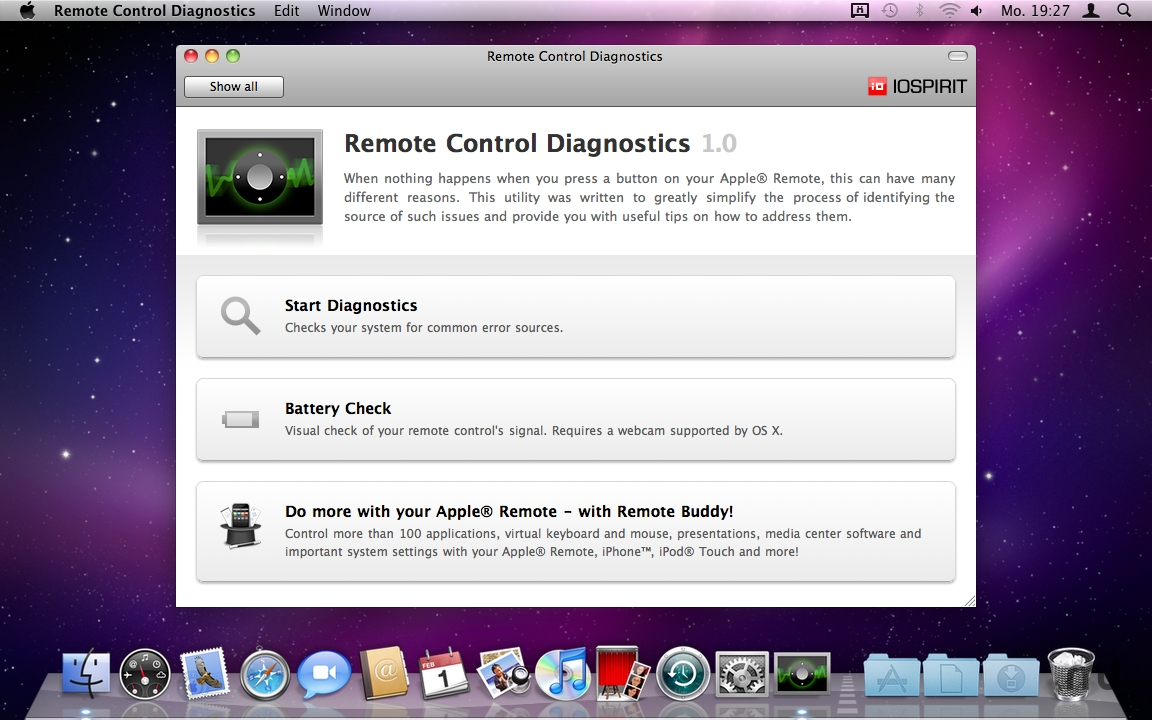 Screenshot 1 for Remote Control Diagnostics