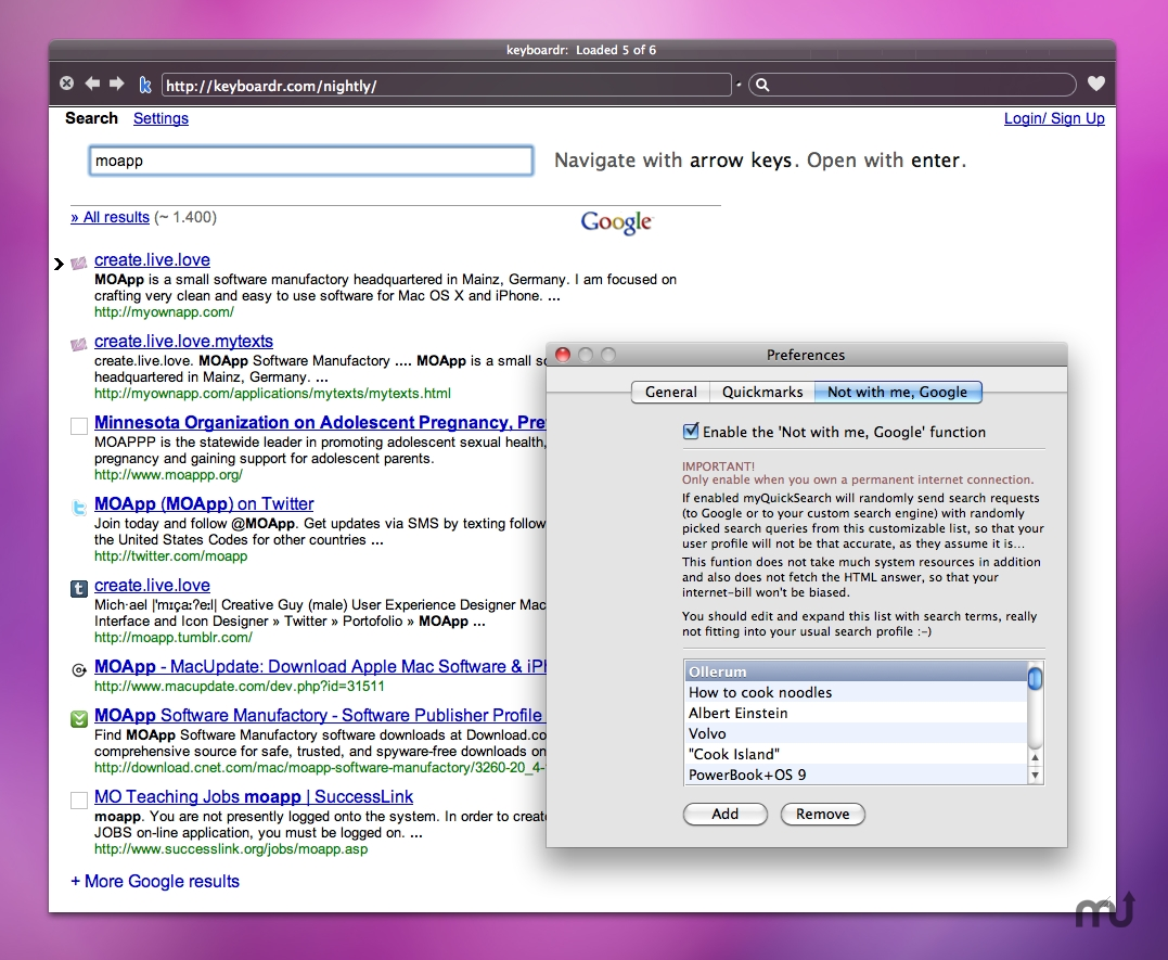 Screenshot 1 for myQuickSearch