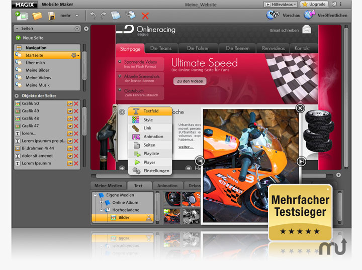 Screenshot 1 for MAGIX Website Maker
