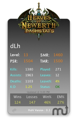 Screenshot 1 for Heroes Of Newerth DashStats