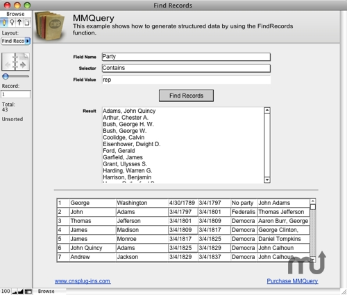 Screenshot 1 for MMQuery