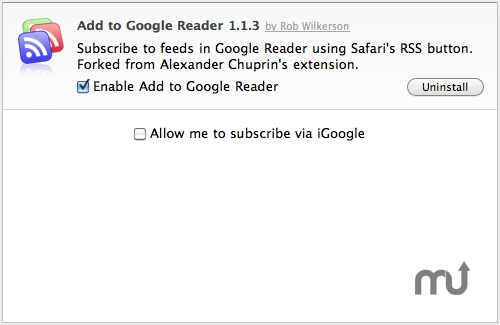 Screenshot 1 for Add to Google Reader