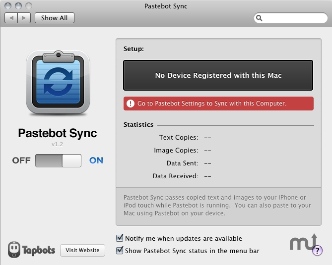 Screenshot 1 for Pastebot Sync