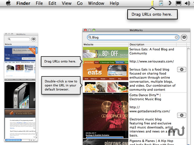 Screenshot 1 for WebMarks