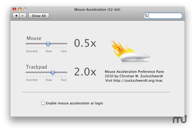 Screenshot 1 for Mouse Acceleration
