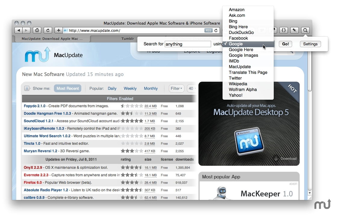 Screenshot 1 for PopSearch Safari Extension