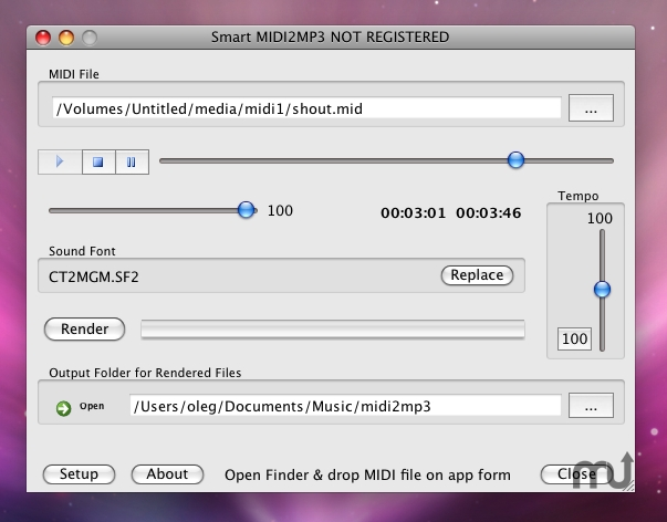 Screenshot 1 for MIDI 2 MP3