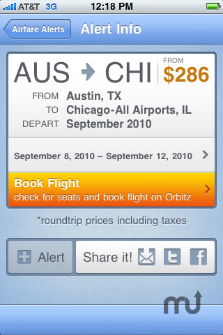 Screenshot 2 for FareCompare When-to-Fly Airfare Alerts
