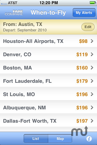 Screenshot 5 for FareCompare When-to-Fly Airfare Alerts