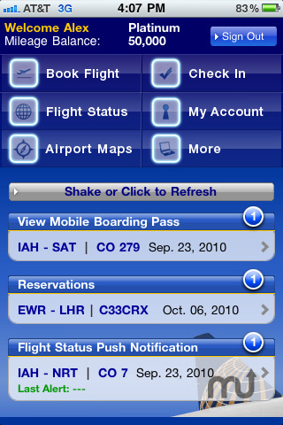 Screenshot 1 for Continental Airlines, Inc