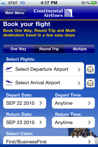 Screenshot 2 for Continental Airlines, Inc