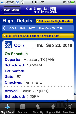 Screenshot 3 for Continental Airlines, Inc