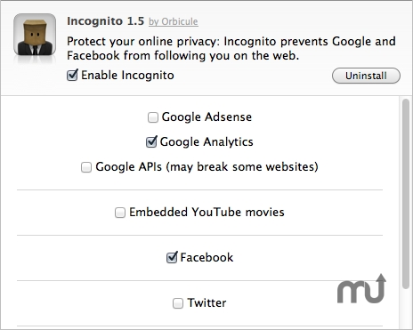 Screenshot 1 for Incognito Safari Extension