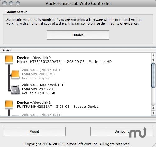 Screenshot 1 for MacForensicsLab Write Controller