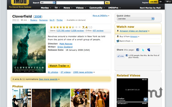 Screenshot 1 for Less IMDb Safari Extension