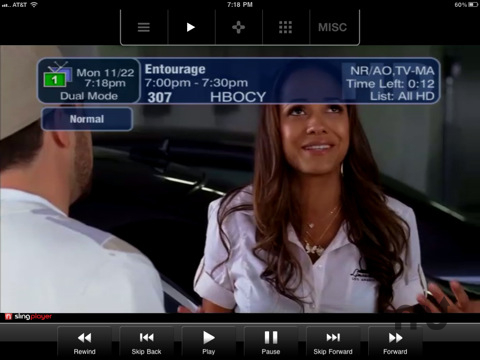 Screenshot 1 for SlingPlayer Mobile for iPad
