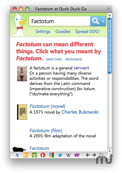 Screenshot 1 for Factotum Safari Extension