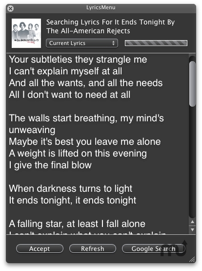 Screenshot 1 for LyricsMenu