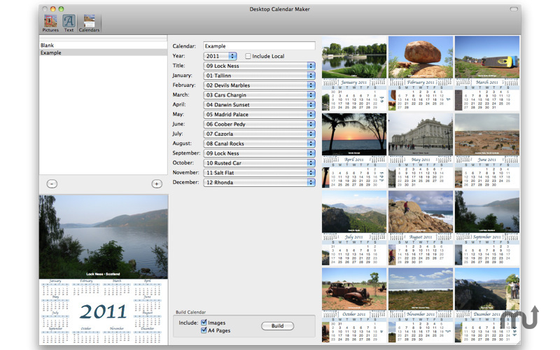 Screenshot 1 for Desktop Calendar Maker