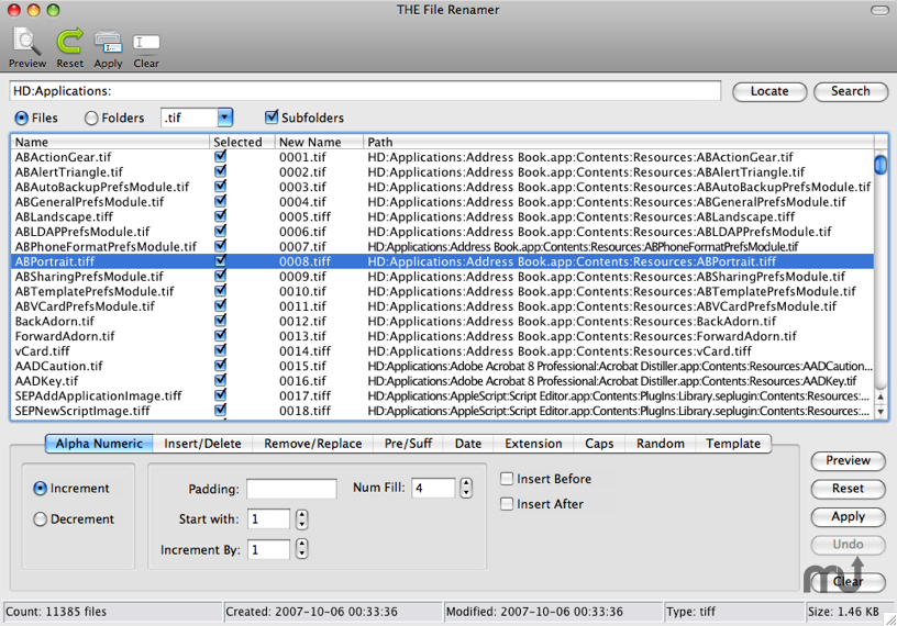 Screenshot 1 for THE File Renamer
