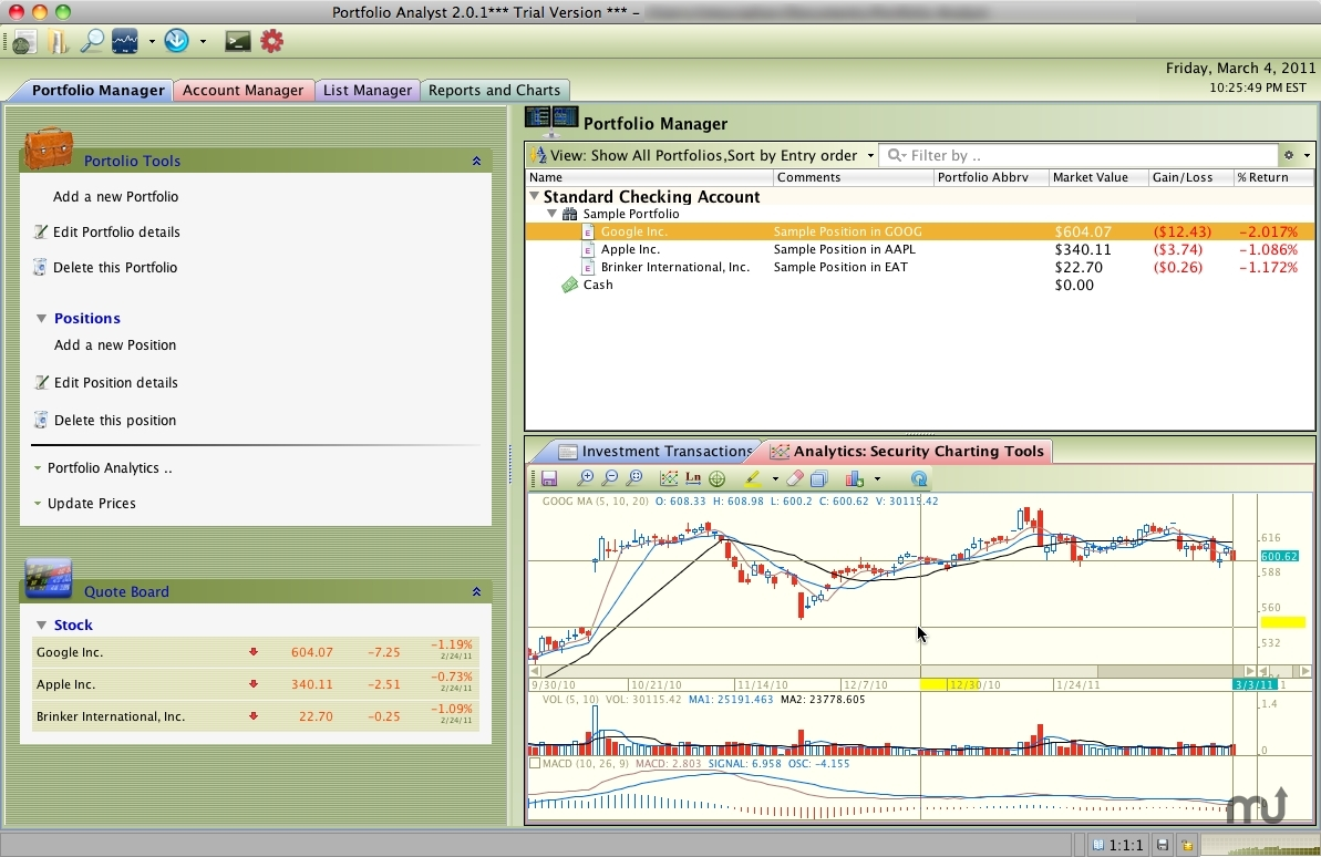 Screenshot 1 for Portfolio Analyst