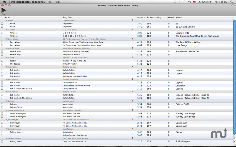 Screenshot 1 for Remove Duplicates from Music Library