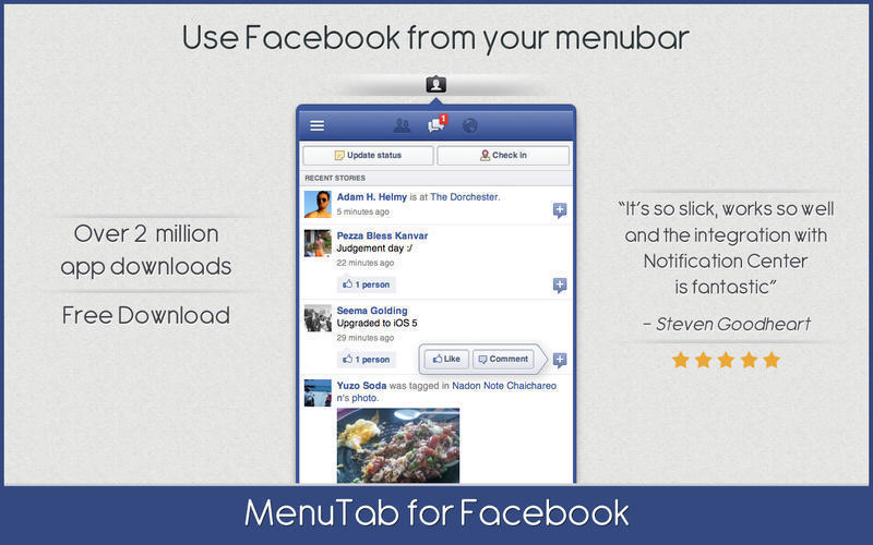 Screenshot 1 for MenuTab for Facebook