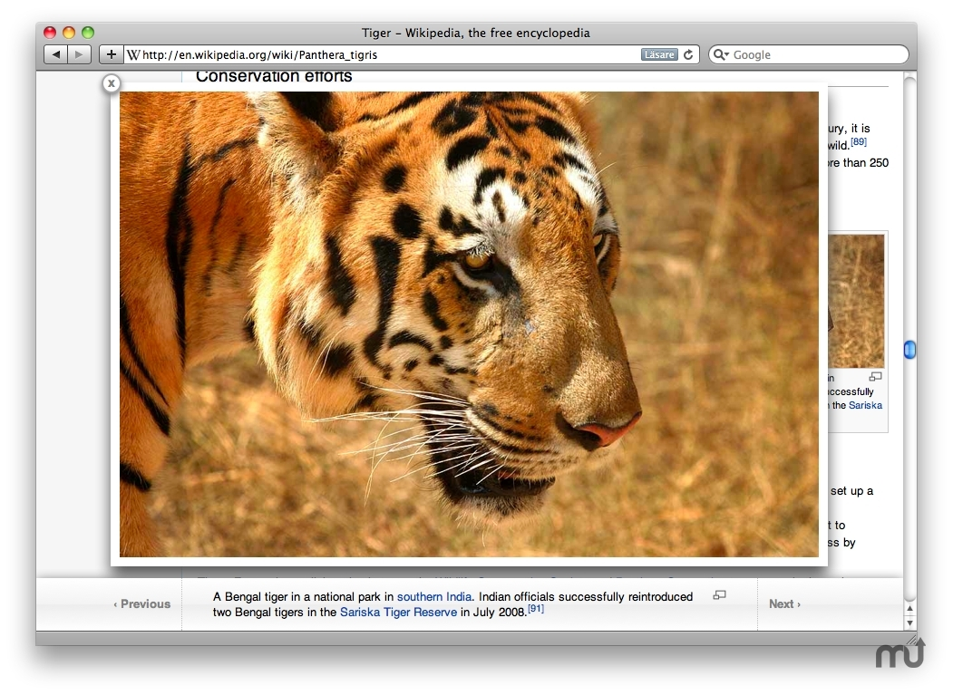 Screenshot 1 for WikiPics Safari Extension