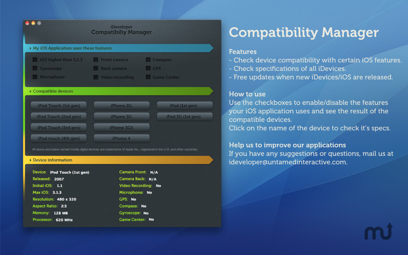 Screenshot 1 for iDeveloper - Compatibility Manager