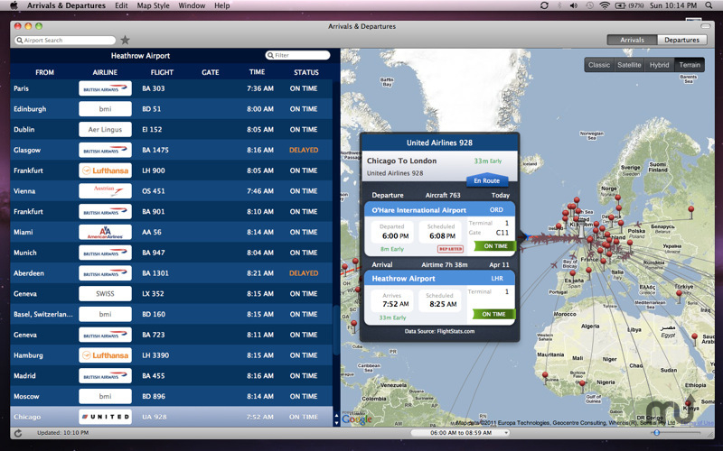 Screenshot 1 for Arrivals & Departures