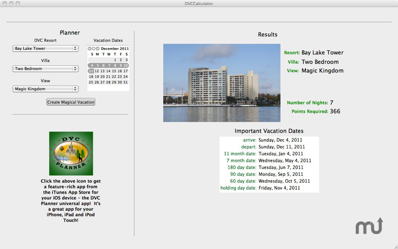 Screenshot 1 for DVC Calculator