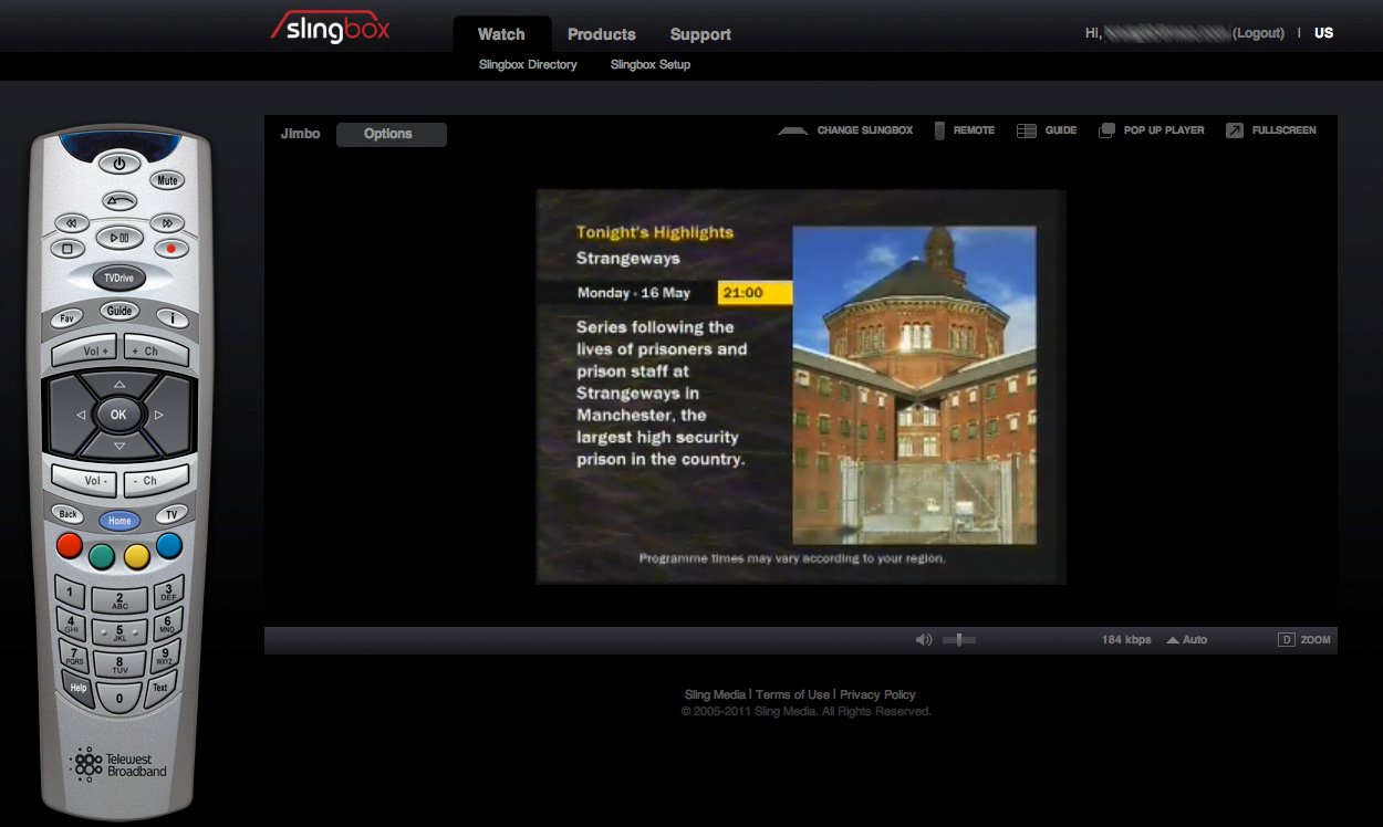 Screenshot 1 for SlingPlayer Plugin