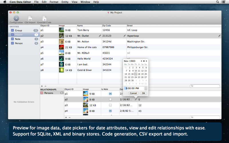 Screenshot 1 for Core Data Editor