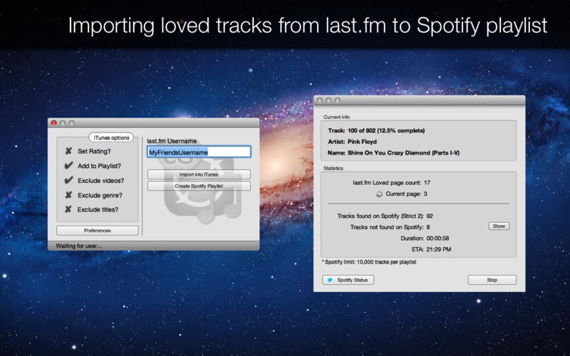 Screenshot 2 for Loved Tracks Importer last.fm edition
