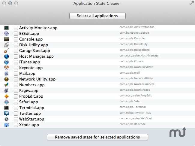 Screenshot 1 for Application State Cleaner