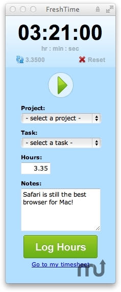 Screenshot 1 for FreshTime Safari Extension
