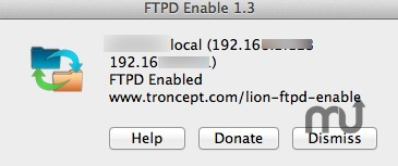 Screenshot 1 for Lion FTPD Enable