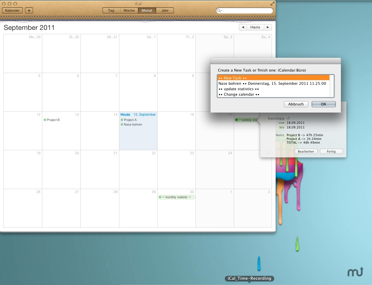 Screenshot 1 for iCal Time-Recording
