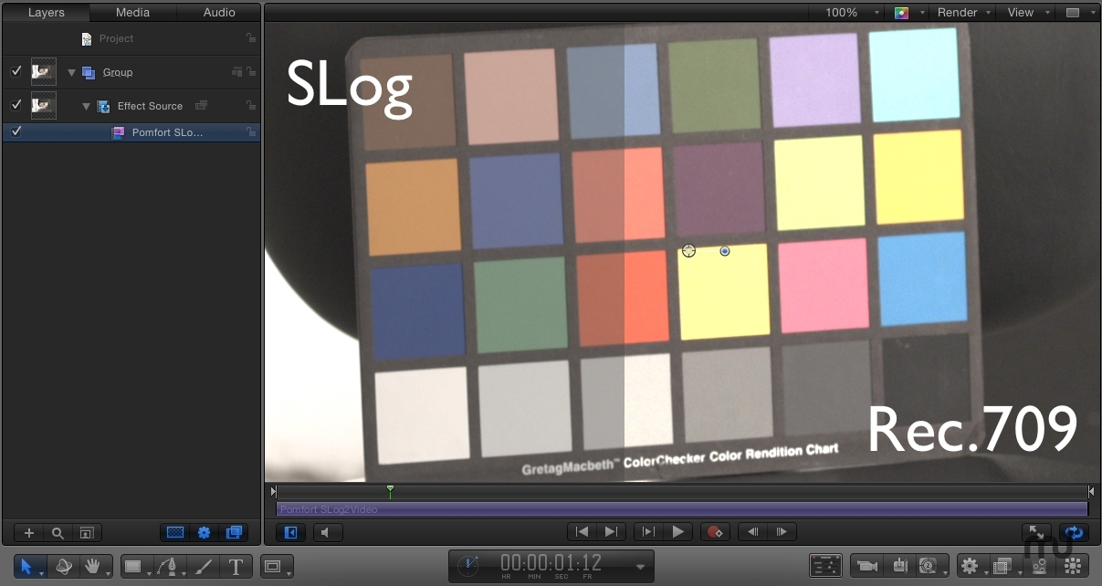 Screenshot 1 for SLog2Video FxPlug