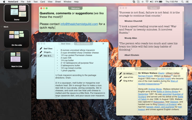 Screenshot 1 for NoteCard