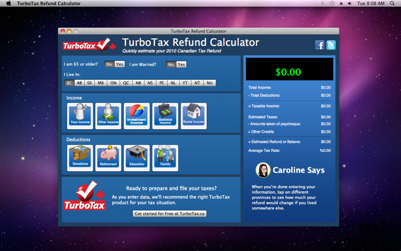 Screenshot 1 for TurboTax Refund Calculator